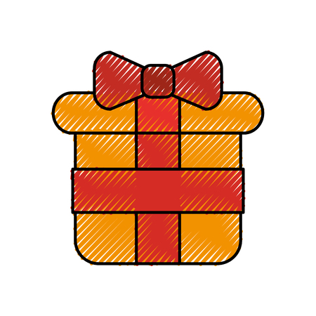 Kerst cadeau vak verpakt lint decoratie vector illustratie