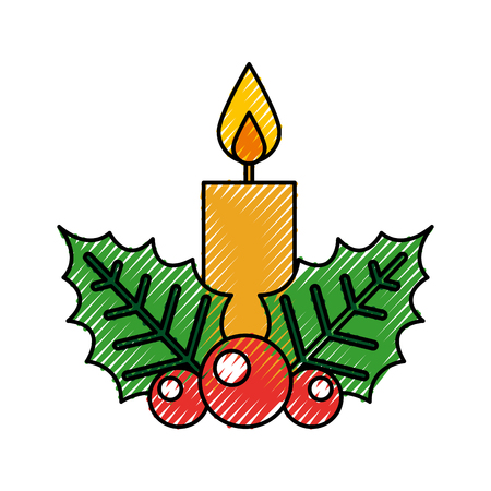 christmas candle flame leaf holly berry decoration vector illustration