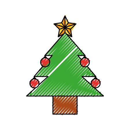 クリスマス ツリー松ボール星飾りベクトル図  イラスト・ベクター素材