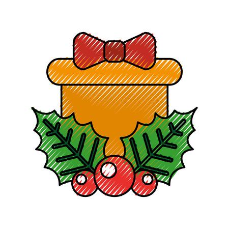 Kerst cadeau vak hulst bessen boog decoratie vector illustratie