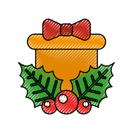christmas gift box holly berry bow decoration vector illustration
