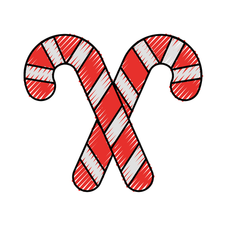 candy stick cane decoration sugar sweet striped vector illustration