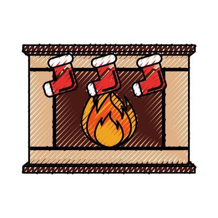 Hauptfamilien-Kaminweihnachten der Steinziegelsteine mit den Socken, die Vektorillustration hängen Standard-Bild - 90278690