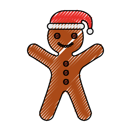 Gingerman maison Noël pain d'épice cookie style illustration vectorielle Banque d'images - 90278691
