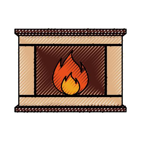 Foyer de Noël maison de briques en pierre maison foyer de Noël avec illustration vectorielle de feu Banque d'images - 90278692