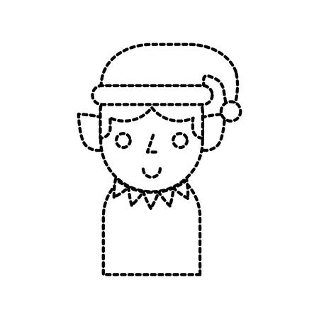 christmas elf cartoon character santa helper vector Illustration