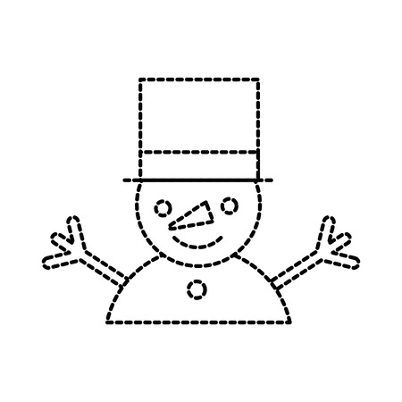 christmas cute funny snowman hands up isolated on white background vector illustration