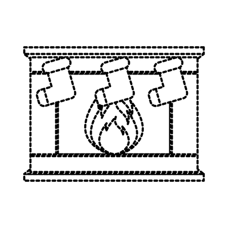 stone bricks home family fireplace christmas hearth with burning fire vector illustration