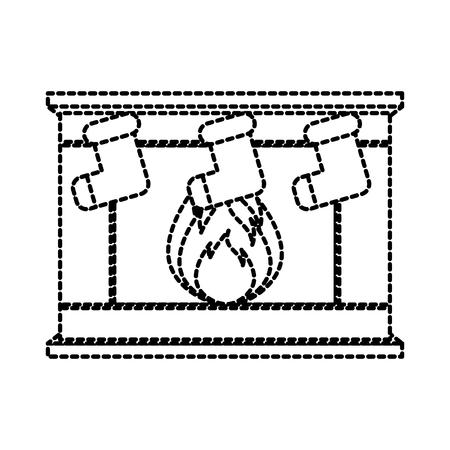 stenen bakstenen huis familie open haard kerst haard met brandende vuur vector illustratie Stock Illustratie