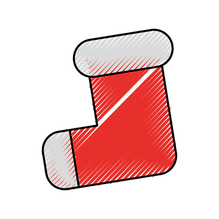 흰색 모피 벡터 일러스트와 함께 빈 크리스마스 스타킹 장식 빨간색