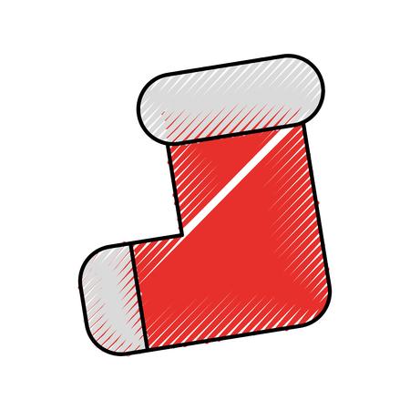 Leeres Weihnachtsstrumpf zwei rot mit weißem Pelz Vektor-Illustration Standard-Bild - 90280465