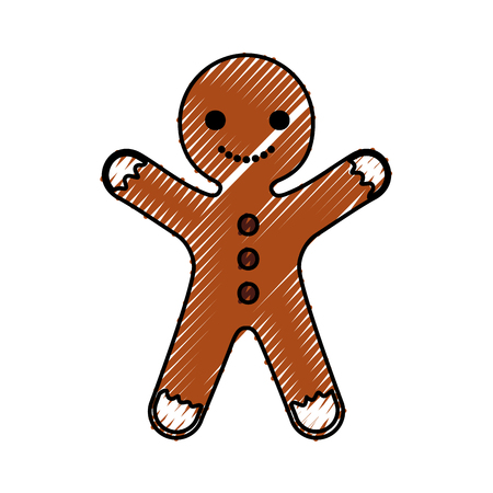 gingerman homemade christmas gingerbread cookie style vector illustration Ilustrace