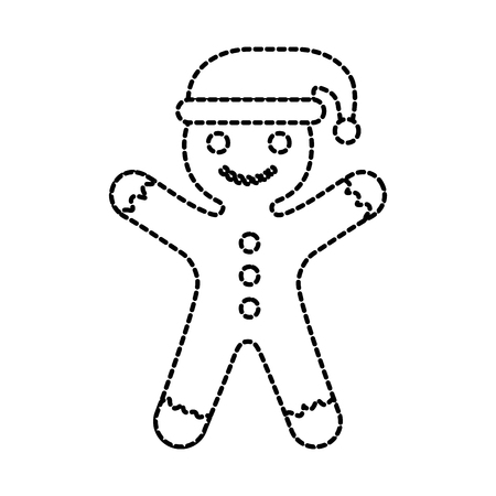 gingerman homemade christmas gingerbread cookie style vector illustration Çizim