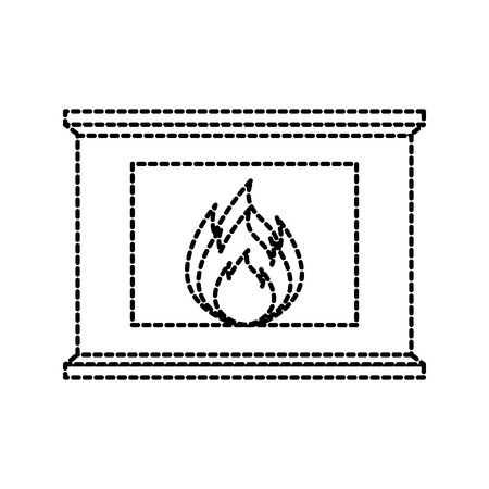 Foyer de Noël maison de briques en pierre maison foyer de Noël avec illustration vectorielle de feu Banque d'images - 90280473