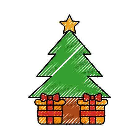 christmas tree gift boxes ball star decoration vector illustration