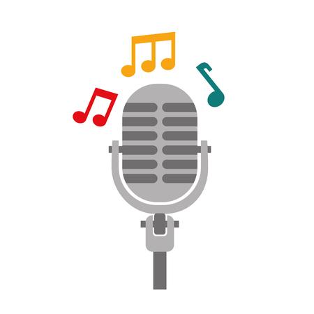 microphone note music sound equipment festival vector illustration Çizim