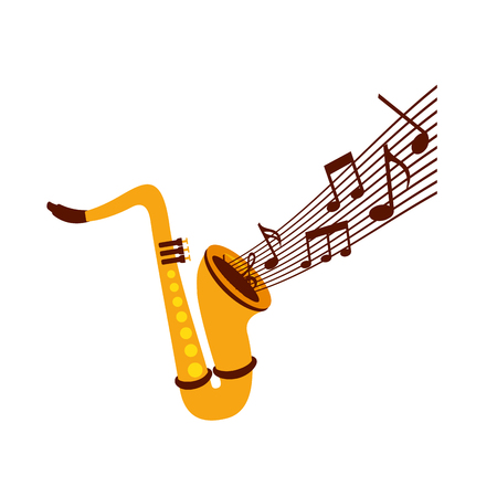 색소폰 메모 음악 재즈 악기 축제 벡터 일러스트 레이션 스톡 콘텐츠 - 90294480