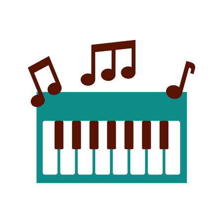 synthesizer note music electronic instrument keyboard vector illustration Imagens - 90294512