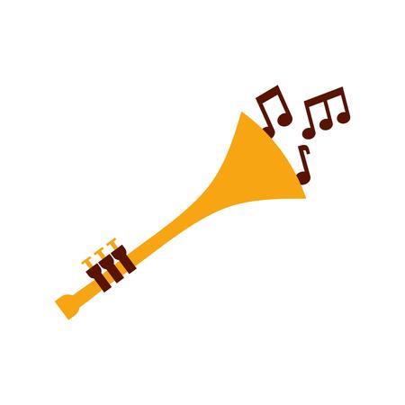 trumpet notes wind musical instrument horn vector illustration