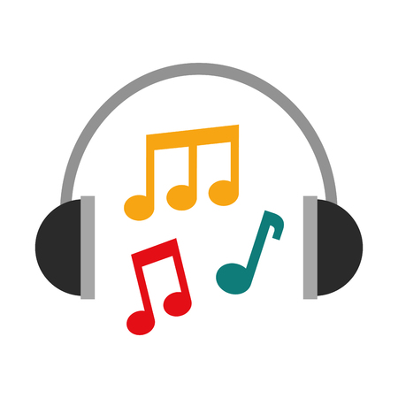 headphones note music sound harmony vector illustration Ilustracja
