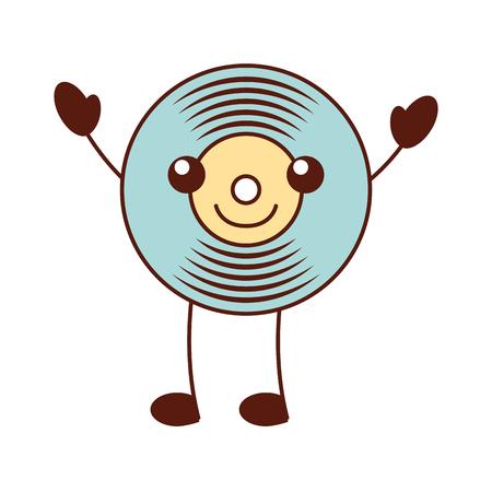 Kawaii music vinyl disk vintage cartoon vector illustration