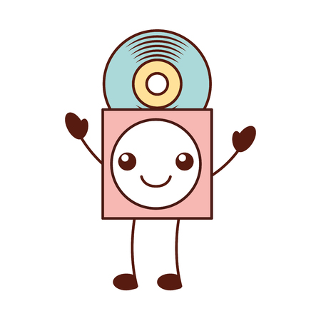 Kawaii music cover with vinyl record in paper case vector Illustration