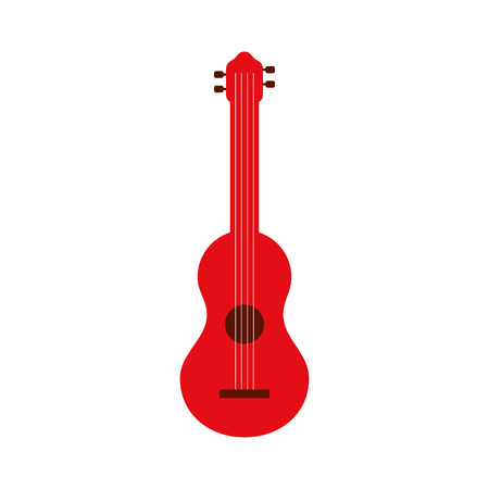 red guitar instrument music acoustic vector illustration