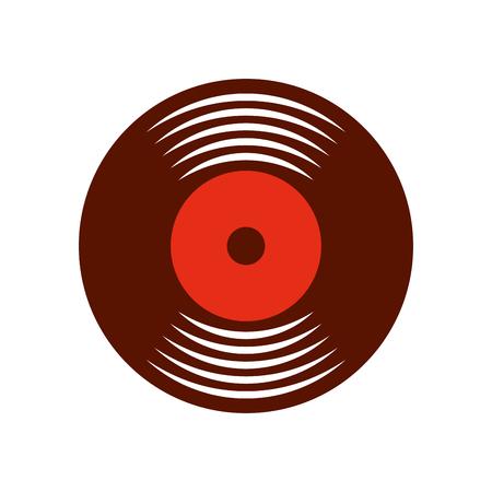 Music vinyl disk vintage cartoon vector illustration Vettoriali