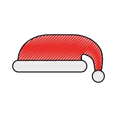 Hat of santa christmas decoration cartoon vector illustration