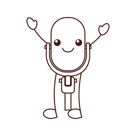 Kawaii microphone sound music equipment vector illustration Ilustração