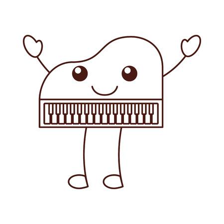 かわいいピアノ音楽楽器古典的な漫画のベクトル図