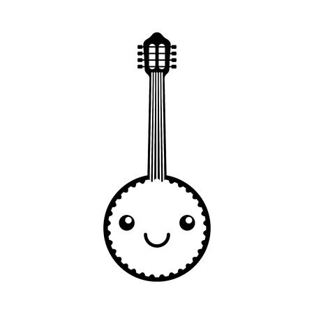 Kawaii banjo jazz instrument musical festival celebration vector illustration