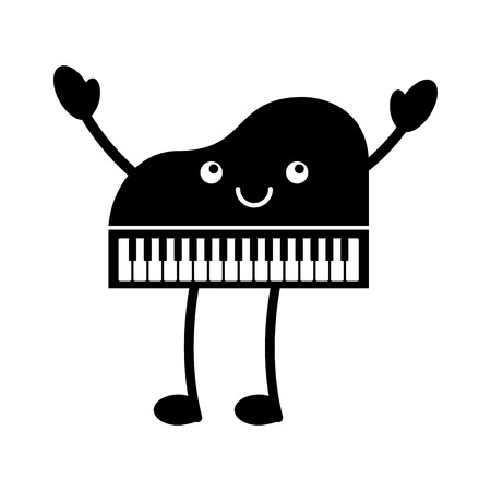 Kawaii piano music instrument classic cartoon vector illustration