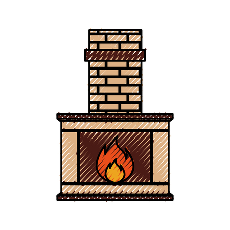Stone bricks home family fireplace christmas hearth with burning fire vector illustration Vettoriali
