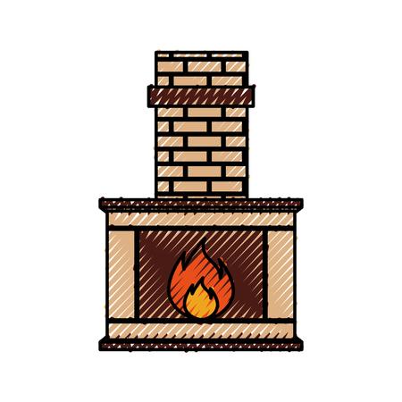 Steinziegelhauptfamilienkamin-Weihnachtsherd mit brennender Feuervektorillustration Standard-Bild - 90327399