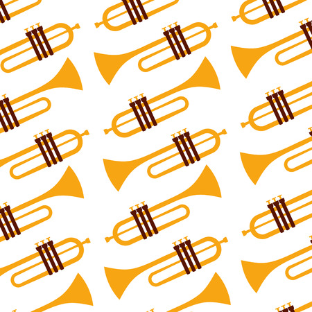 Trompete Jazz Instrument nahtlose Muster Bild Vektor-Illustration Standard-Bild - 90329606