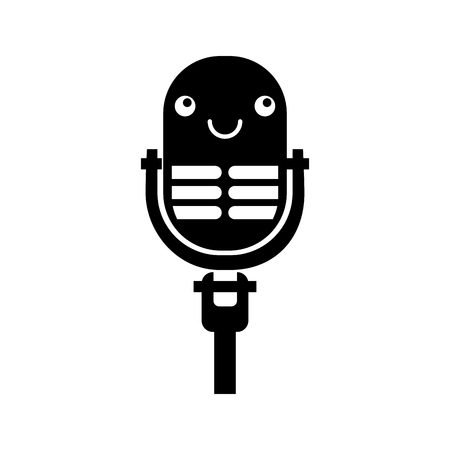 Kawaii microphone sound music equipment vector illustration Illustration