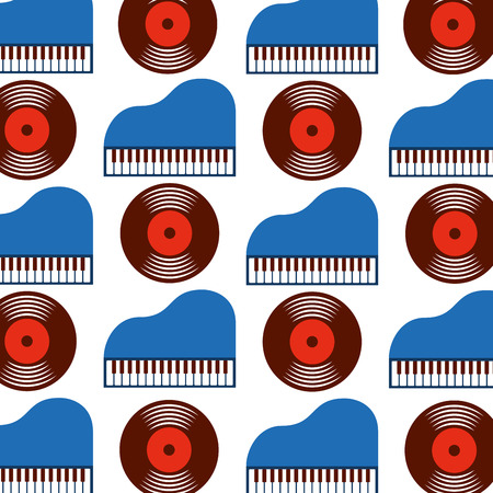 Classic piano and vinyl seamless pattern image vector illustration