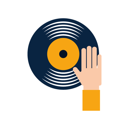 Hand touch vinyl music disk entertainment vector illustration Illustration