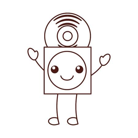 紙ケースベクトルイラストでビニールレコード付きカワイイ音楽カバー  イラスト・ベクター素材
