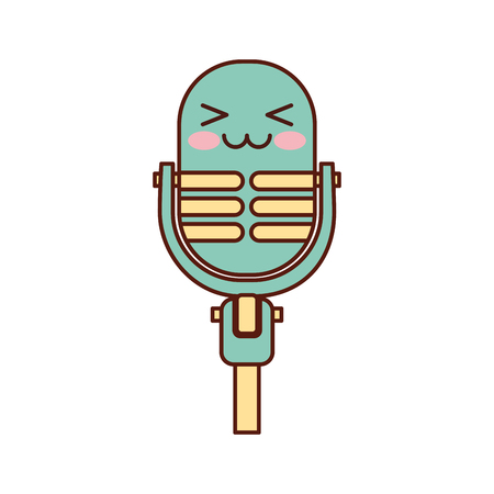 Kawaii microphone sound music equipment vector illustration Illustration