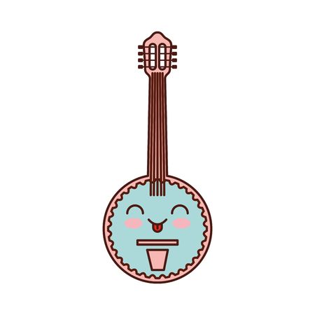 Kawaii banjo jazz instrument musical festival celebration vector illustration