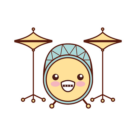 Kawaii battery instrument musical icon vector illustration