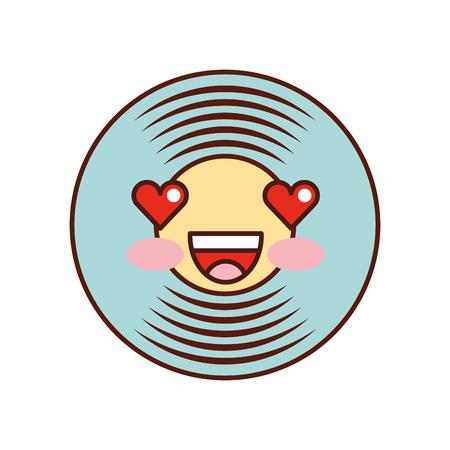 Kawaii Musik Vinyl Scheibe Vintage Cartoon Vektor-Illustration Vektorgrafik
