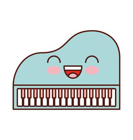 Kawaii piano music instrument classic cartoon vector illustration