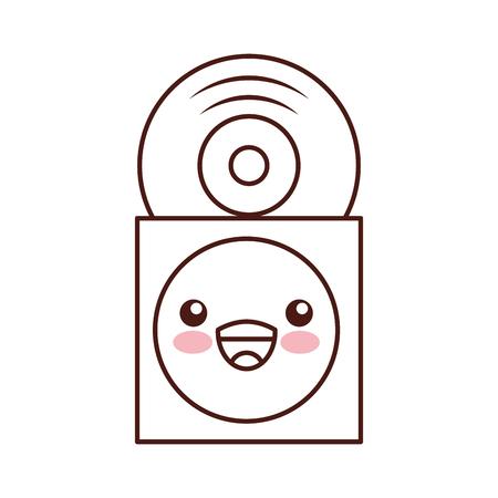 紙ケースベクトルにビニールレコード付き可愛い音楽カバー イラスト