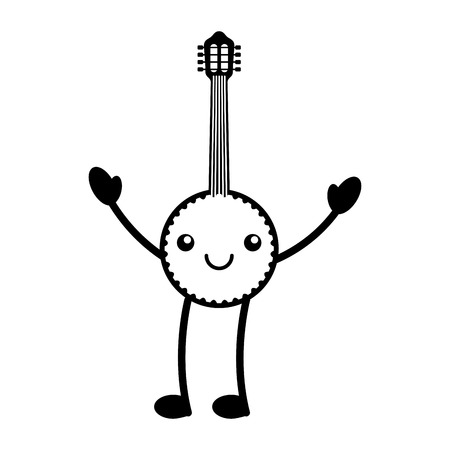 Kawaii banjo jazz instrument musical festival vector illustration