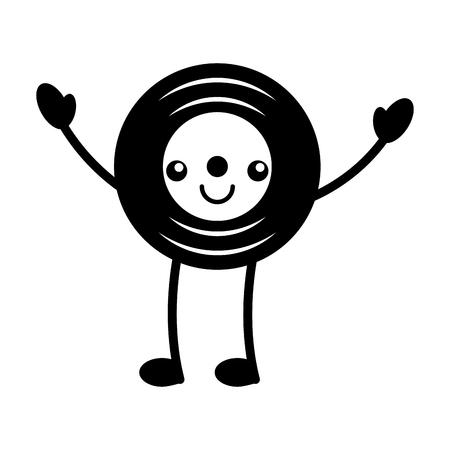 Kawaii Musik Vinyl Scheibe Vintage Cartoon Vektor-Illustration Standard-Bild - 90329239