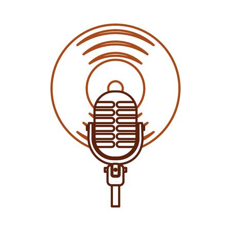 Microphone music vinyl disk vintage cartoon vector illustration 向量圖像