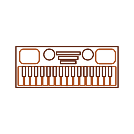 synthesizer electronic instrument keyboard musical on white background vector illustration